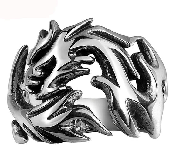 Cool Steel Eye Catching Ring.  Beautiful Dragon Ring.
