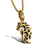 BEAUTIFUL GOLD OR SILVER COLORED DRAGON NECKLACES