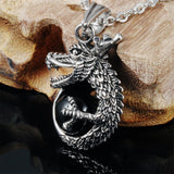 Jiayiqi 2017 New Fashion Male Dragon Crystal Ball Pendant & Necklace Link Chain Men's Stainless Steel Punk Men Jewelry Gift