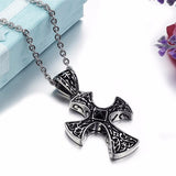 Jiayiqi 2017 Punk Men Necklace Black Crystal Bead Cross Pendant Collar Male Stainless Steel Choke Men Jewelry Link Chain