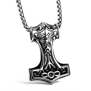 Jiayiqi 2017 Punk Men Stainless Steel Thor Hammer Pendant  Necklace Rock Style Statement Necklace Jewelry Accessories