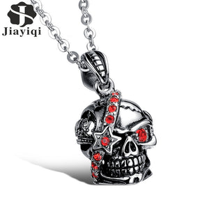 Jiayiqi 2017 Punk Skull Red Crystal Star Pendant Men Necklace Stainless Steel Chain Necklaces Rock Style Statement Jewelry
