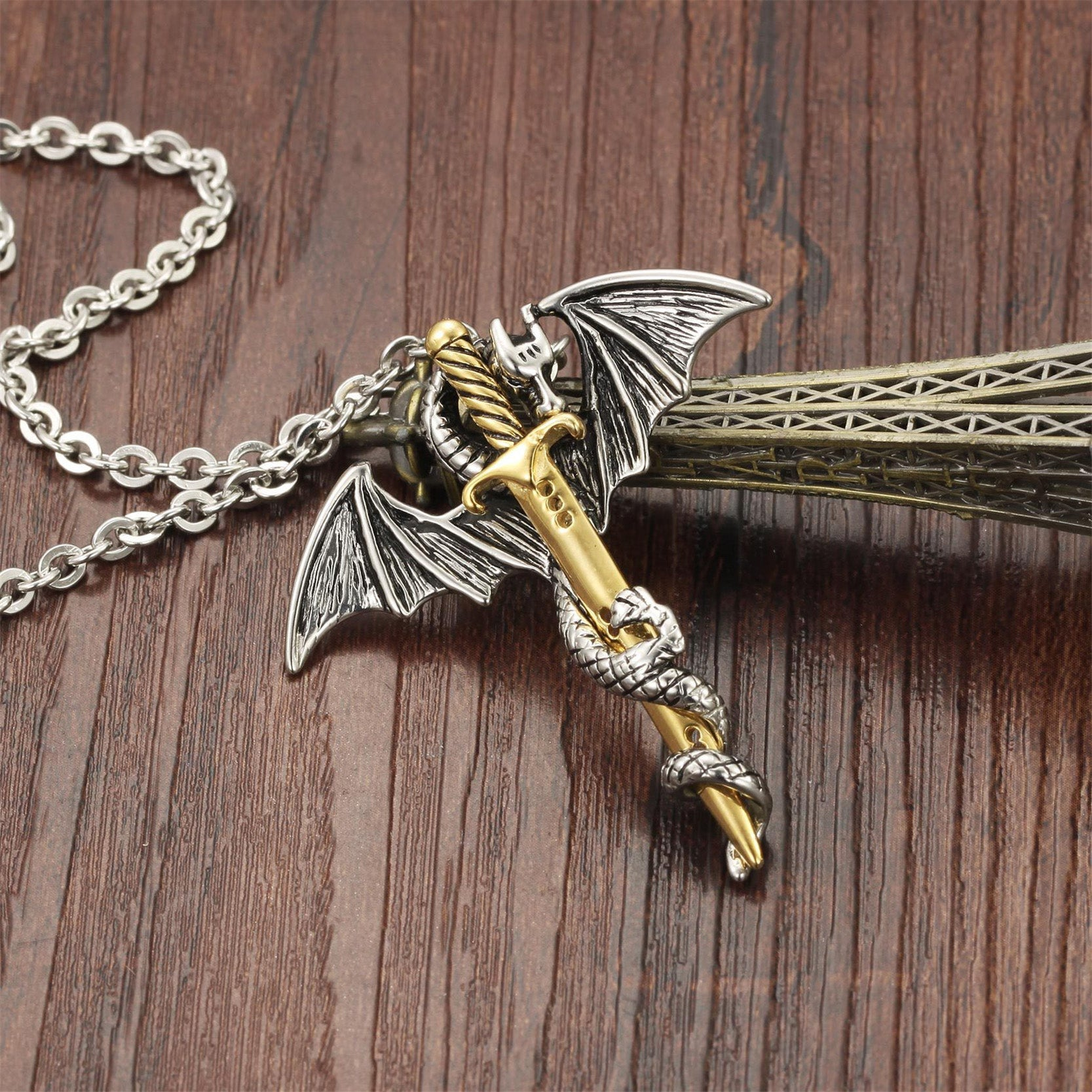 Silver or gold color dragon sword pendant necklaces punk stainless silver or gold color dragon sword pendant necklaces punk stainless steel link chain necklace aloadofball Images