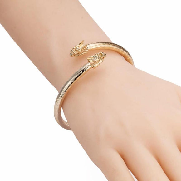 Luxury Gold Color Double Dragon Head Bracelet