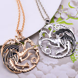 MZC Hot Movie Games of Throne Silver Dragon Necklace Gold Alloy Bijoux for Women Male Neckless Accessories Cheap
