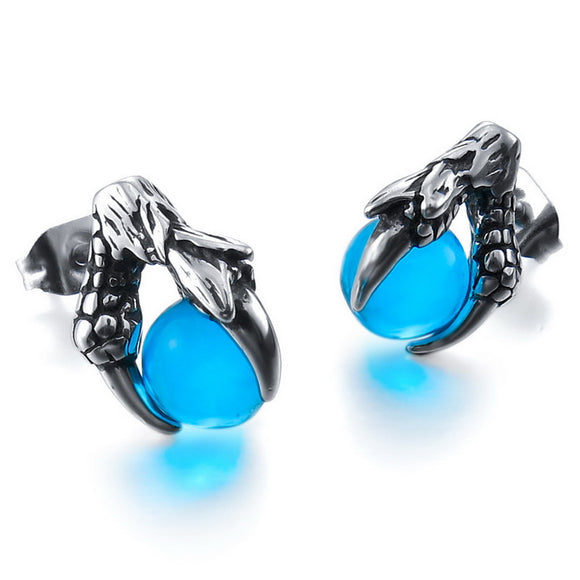 OMG Extremely Eye Catching Punk Style Stainless Steel Dragon Earrings Crystal Silver Blue Or Red Bead Ball Dragon Claw.