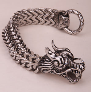 Men's dragon bracelet chain stainless steel biker heavy jewelry gifts for him dad silver gold color KB08  dropshipping 8.5""