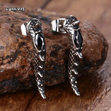 Black Stone Stainless Steel Claw Stud Earrings