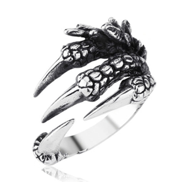 Punk Rock Stainless Steel Mens Biker Rings Vintage Gothic Jewelry Stainless Steel Dragon  Claw Ring Men Accessories WC0109