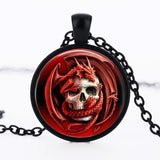 Red dragon glass pendant necklace personality skull pendnat Vintage Art Photo  necklace jewelry wholesale  FTC-N195