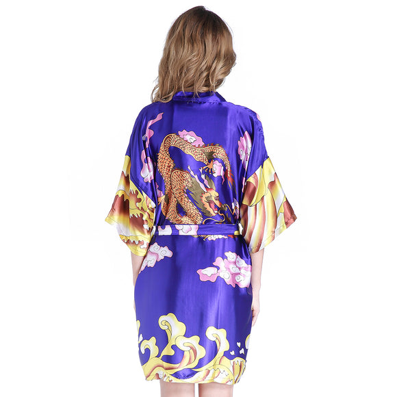 Royal Blue Satin Chinese Women's Dragon Nightgown Summer Sexy Short Kimono Negligee Sleepwear