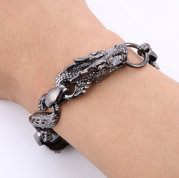Black Fire Dragon Beads Men's Bracelets.  Alloy Metal Bracelets&Bangles