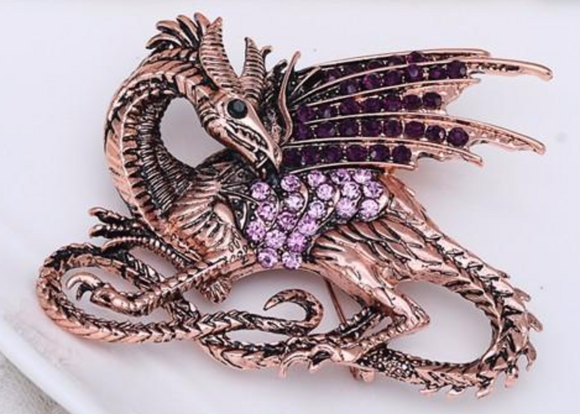 Game of Thrones Rhinestone Purple Dragon Brooch