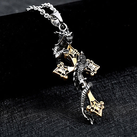 Gold Color Stainless Steel Dragon Cross Pendant Necklace Punk Style. Extremely Classy Looking Priced Way to Low Momentarily.  Especially for what it is.  Very Beautiful.