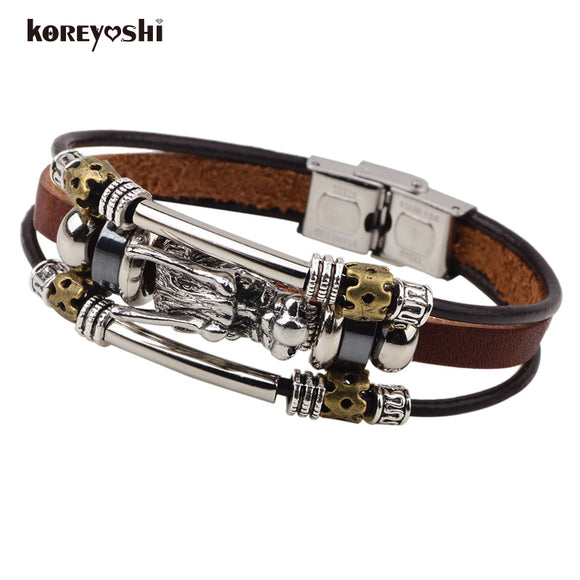Wholesale 12pcs/lot Tibetan silver men leather bracelet fashion male vintage parataxis dragon Multilayer bracelet men jewelry