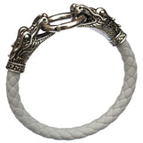 leather Tibetan silver men's dragon bracelet.