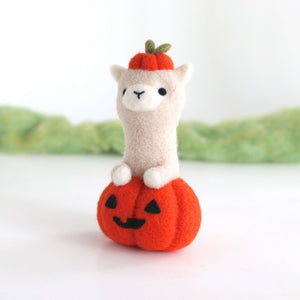 Needle Felted Alpaca in Jack-o'-Lantern by Wild Whimsy Woolies