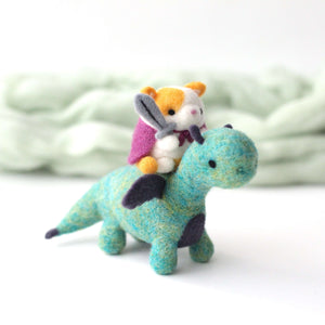 Cat Knight Riding a Dragon by Wild Whimsy Woolies
