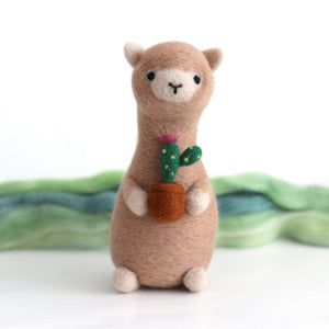 Needle Felted Alpaca holding Cactus by Wild Whimsy Woolies