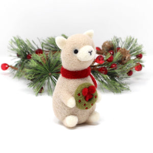 Needle Felted Alpaca holding Wreath by Wild Whimsy Woolies