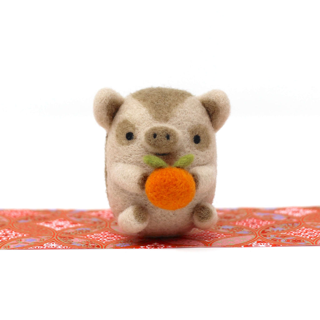 Needle Felted Baby Boar with Orange by Wild Whimsy Woolies