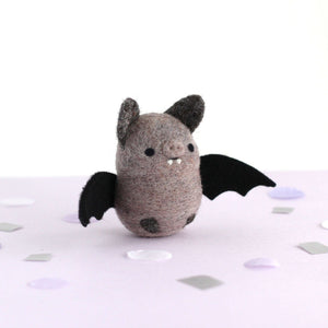 Needle Felted Bat (Dusty Grey) by Wild Whimsy Woolies