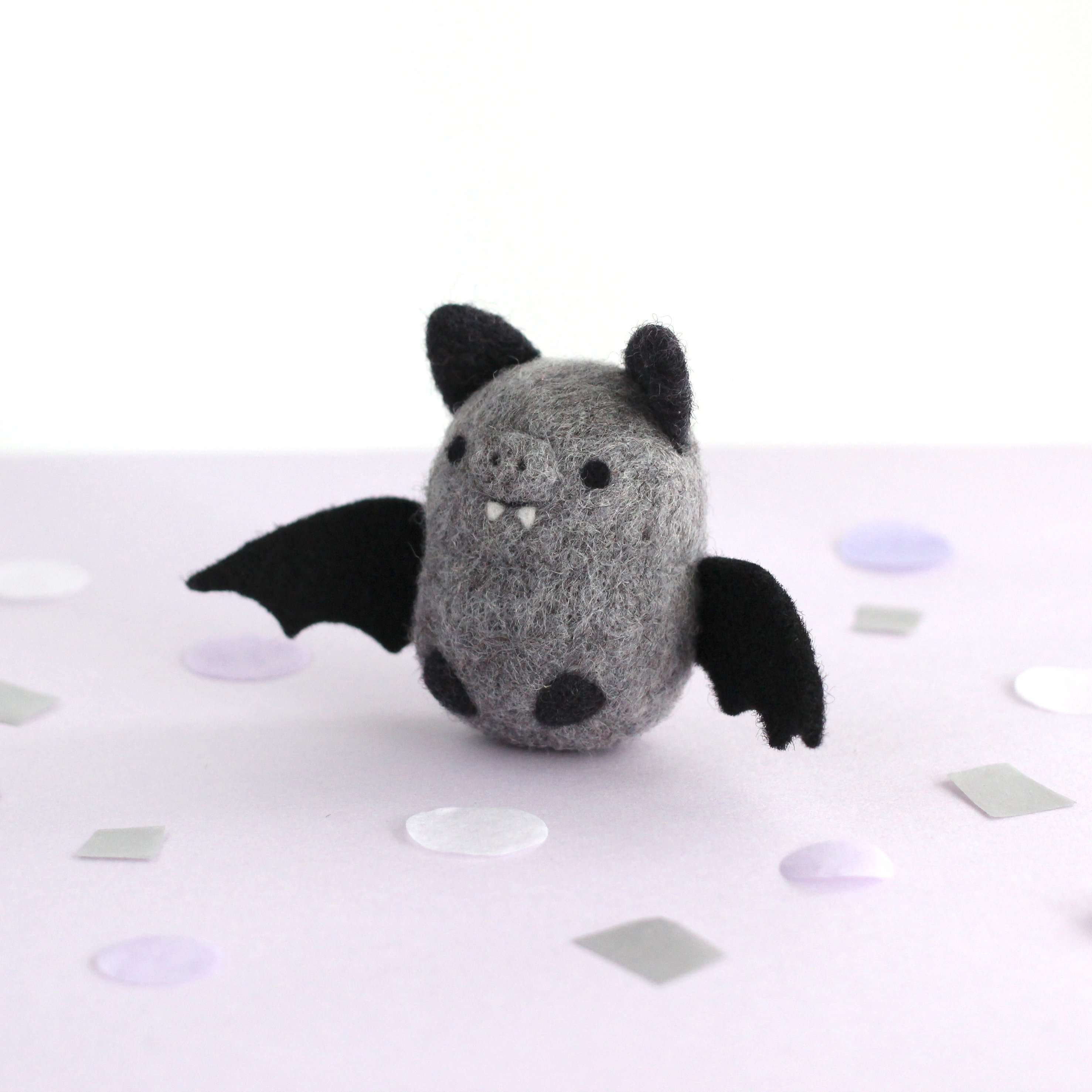 Needle Felted Bat (Grey) by Wild Whimsy Woolies