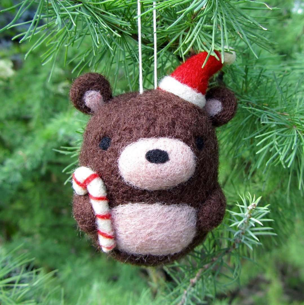 Needle Felted Bear Ornament by Wild Whimsy Woolies