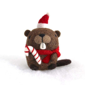 Needle Felted Beaver w/ Candy Cane by Wild Whimsy Woolies