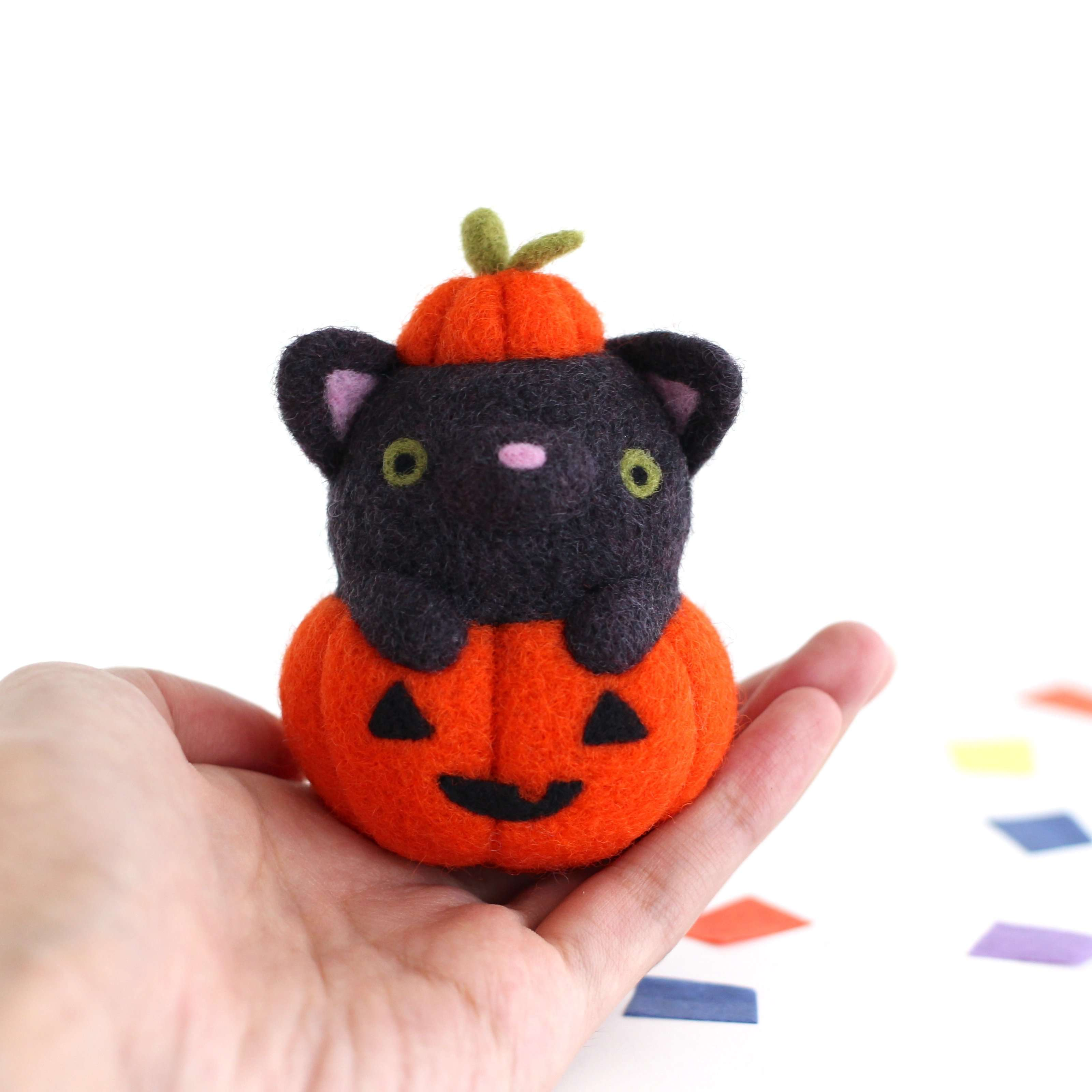 Needle Felted Black Cat in Jack-o'-Lantern (Bright Orange Variant) by Wild Whimsy Woolies