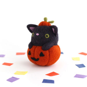 Needle Felted Black Cat in Jack-o'-Lantern (Burnt Orange Variant) by Wild Whimsy Woolies