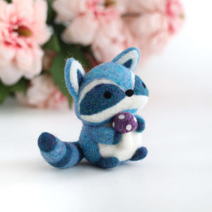 Needle Felted Blue Raccoon with Magical Mushroom by Wild Whimsy Woolies