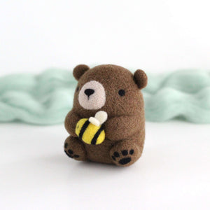 Needle Felted Brown Bear holding Bee by Wild Whimsy Woolies