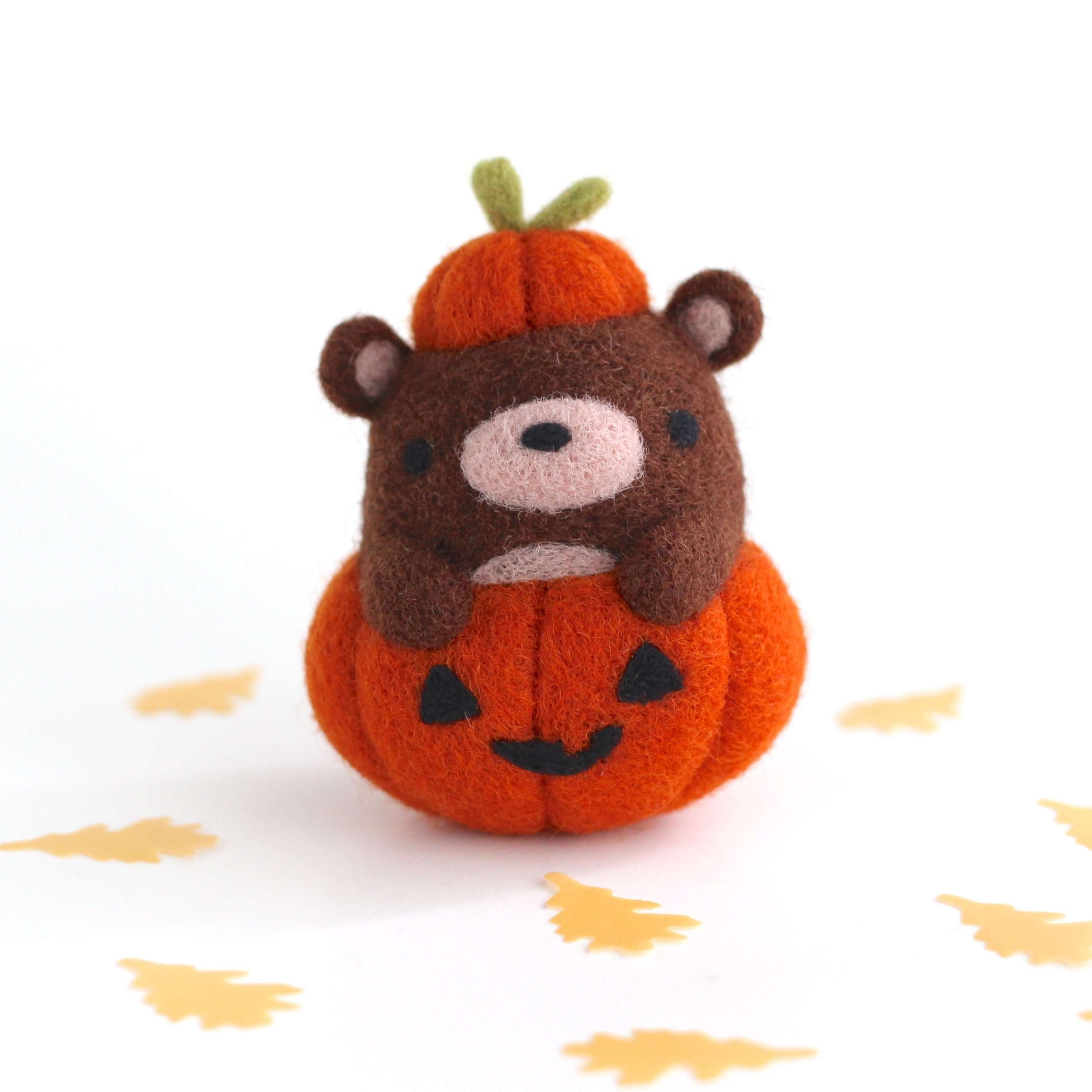 Needle Felted Brown Bear in Jack-o'-Lantern by Wild Whimsy Woolies