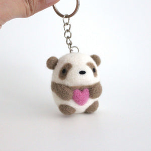 Needle Felted Brown Panda Holding a Heart Keychain by Wild Whimsy Woolies