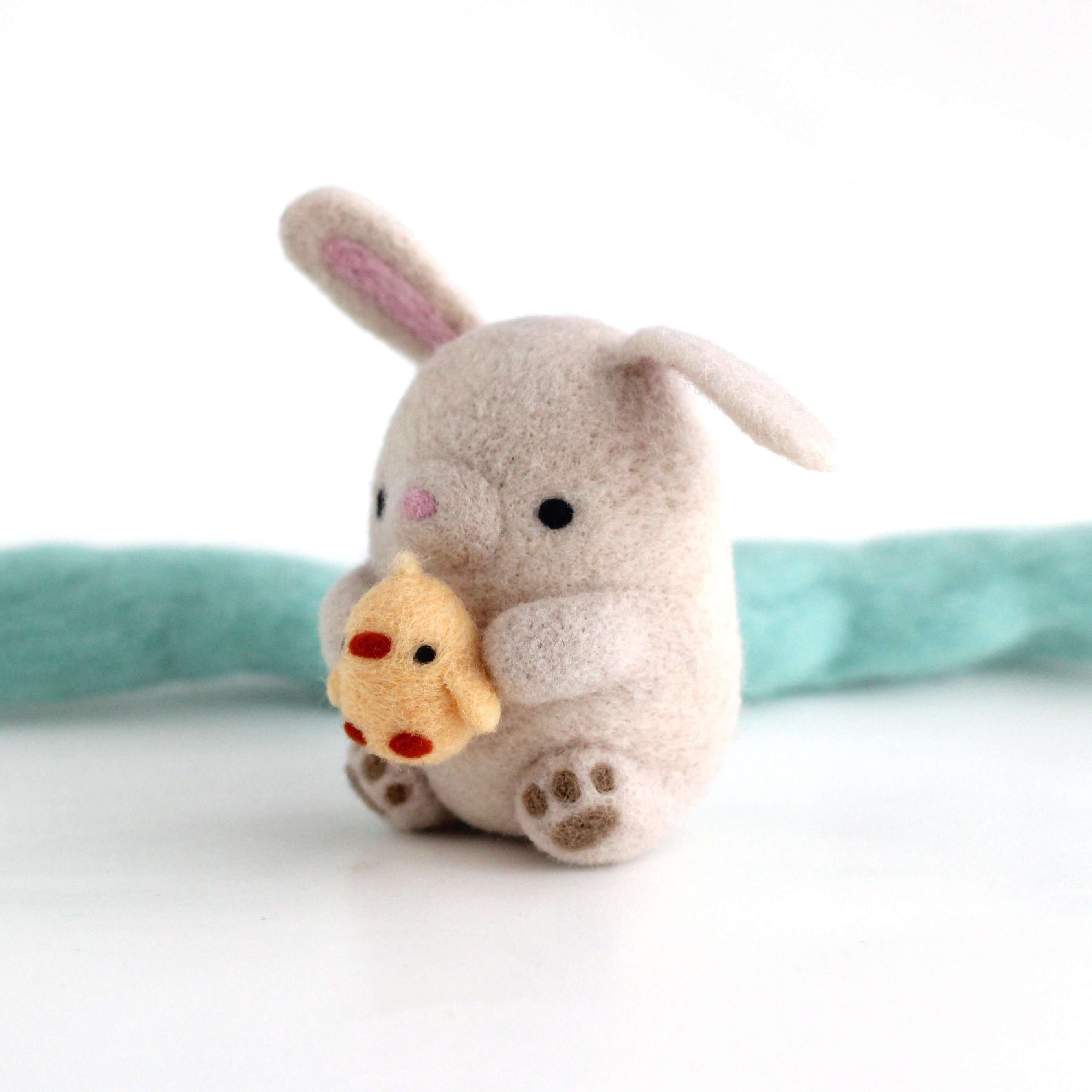 Needle Felted Bunny holding Chick by Wild Whimsy Woolies