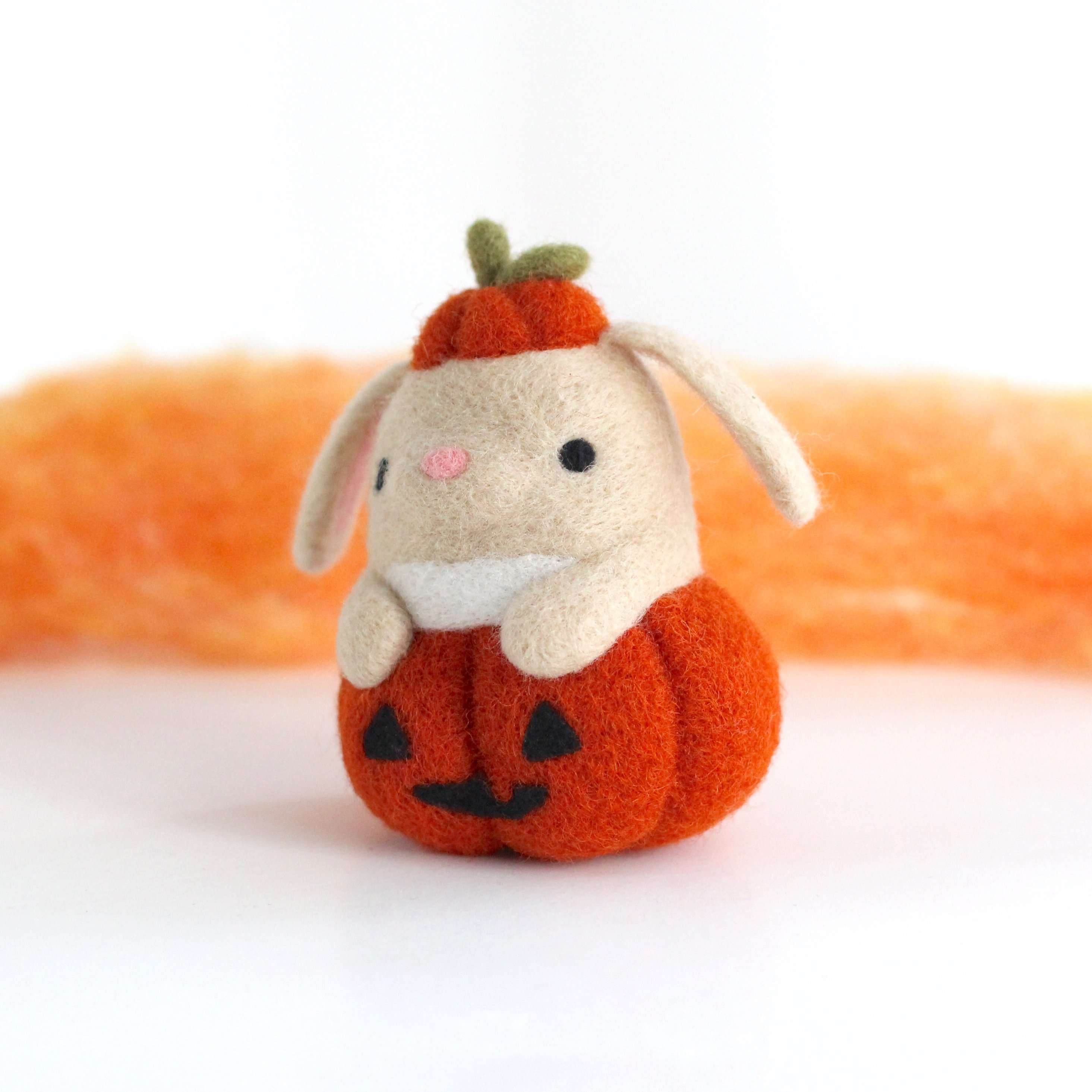 Needle Felted Bunny in Jack-o'-Lantern by Wild Whimsy Woolies