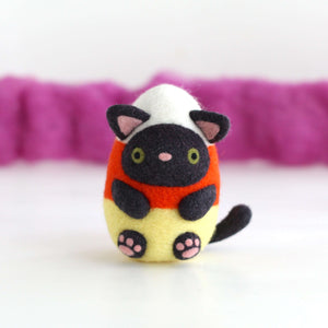 Needle Felted Candy Corn Cat by Wild Whimsy Woolies
