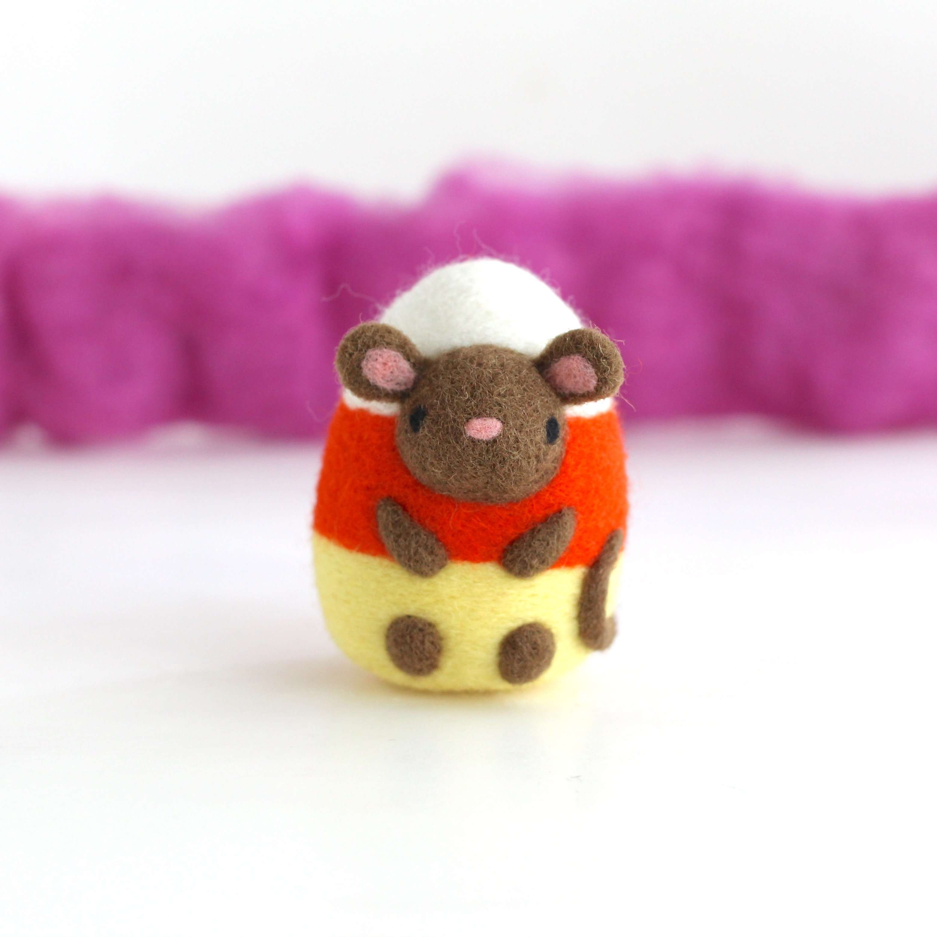 Needle Felted Candy Corn Mouse by Wild Whimsy Woolies
