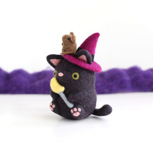 Needle Felted Cat Witch with Mouse Familiar by Wild Whimsy Woolies