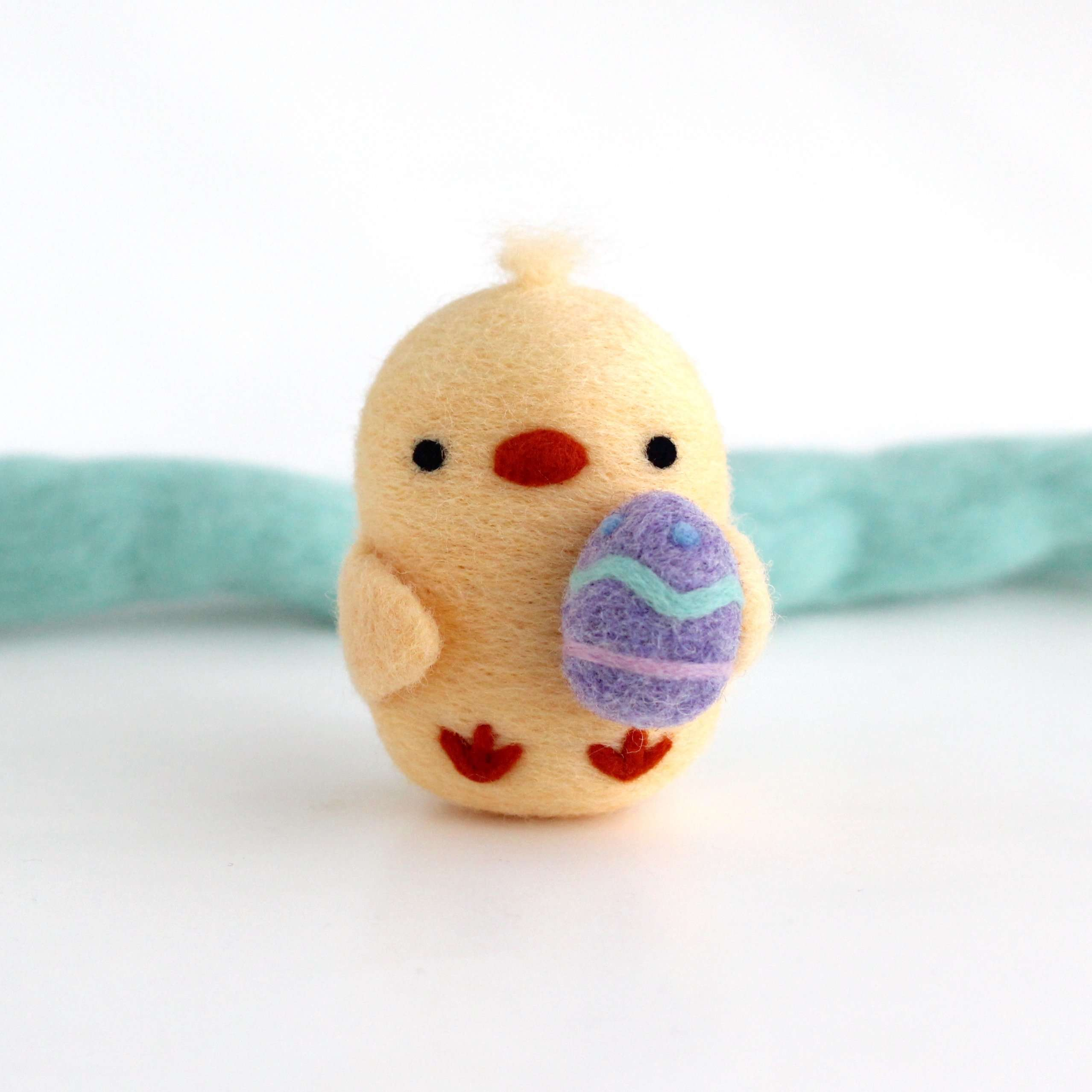 Needle Felted Chick Holding an Easter Egg by Wild Whimsy Woolies