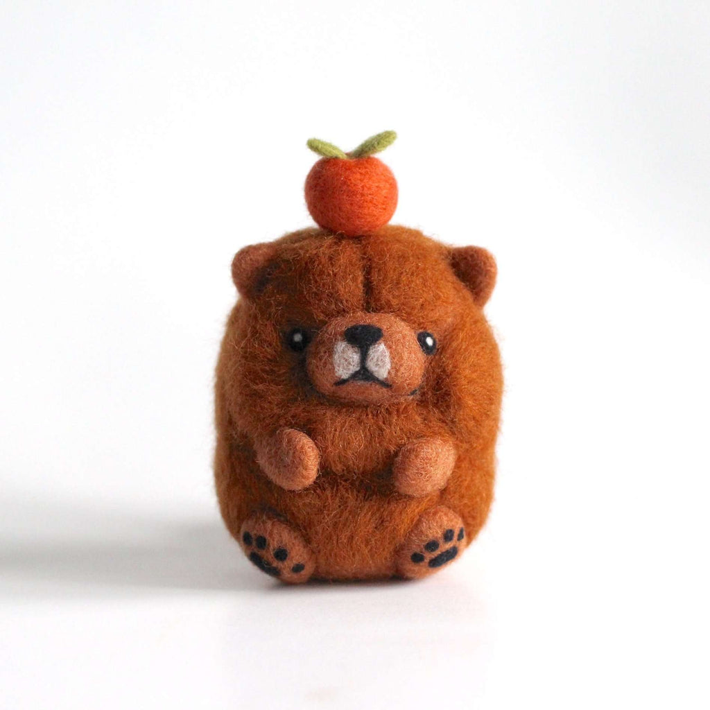 Needle Felted Chow Chow w/ an Orange by Wild Whimsy Woolies