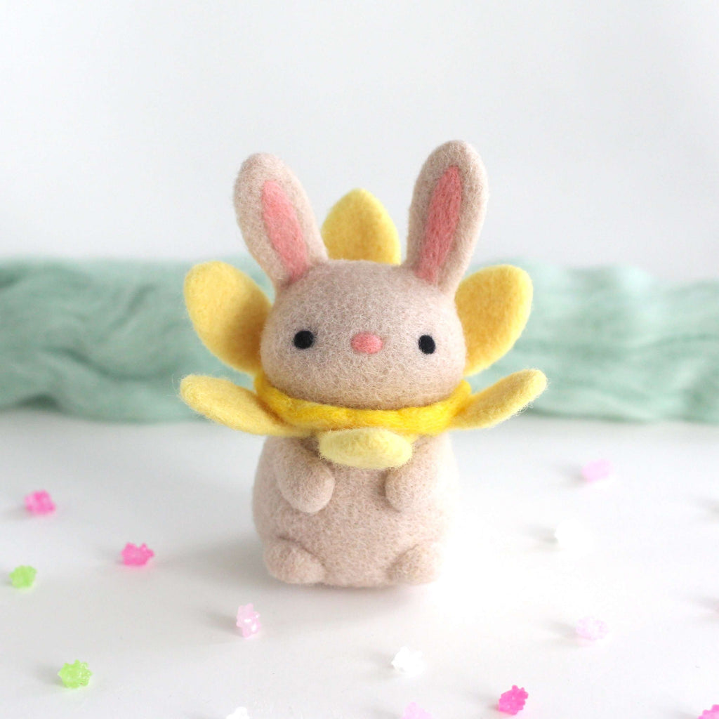 Needle Felted Daffodil Bunny Bloom by Wild Whimsy Woolies