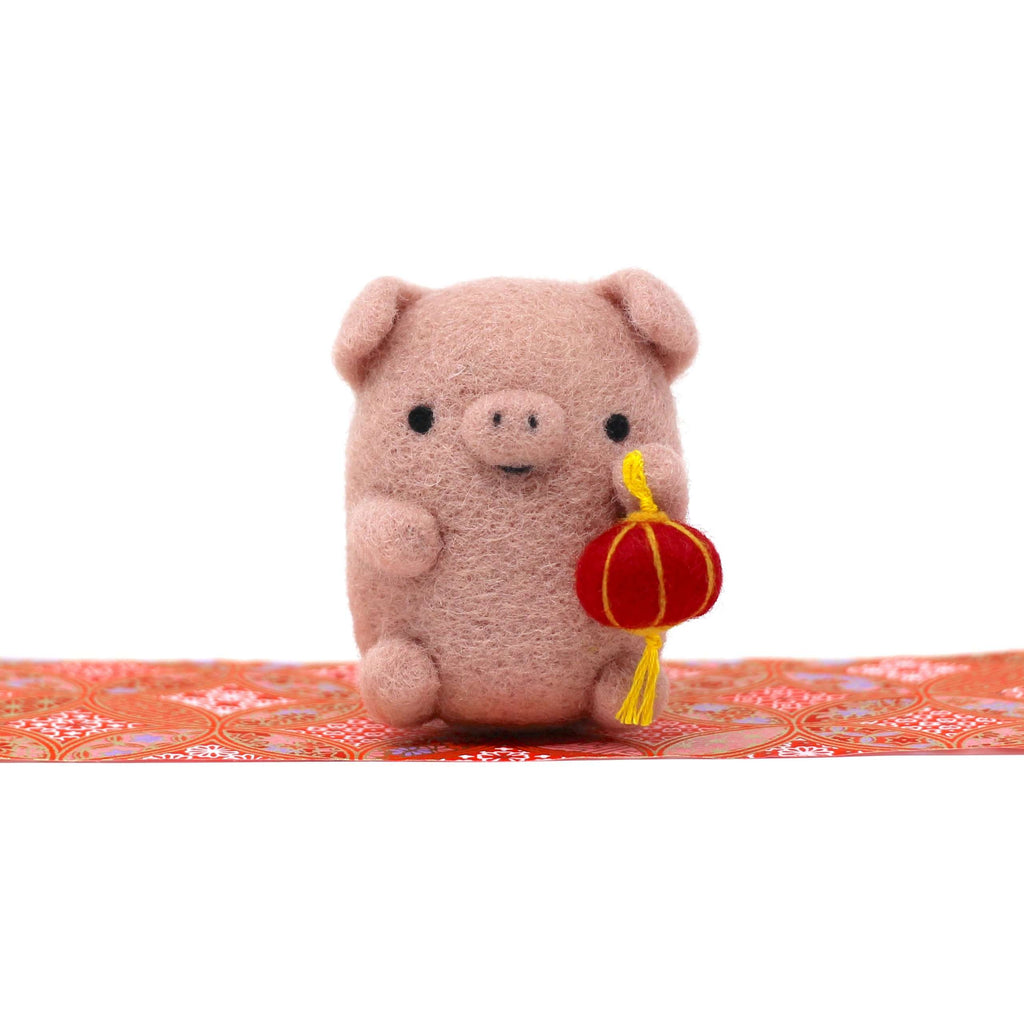 Needle Felted Dusty Pink Pig with Lantern by Wild Whimsy Woolies