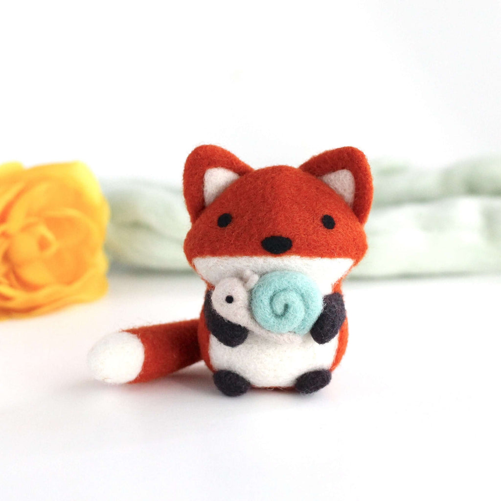 Needle Felted Fox holding Snail by Wild Whimsy Woolies