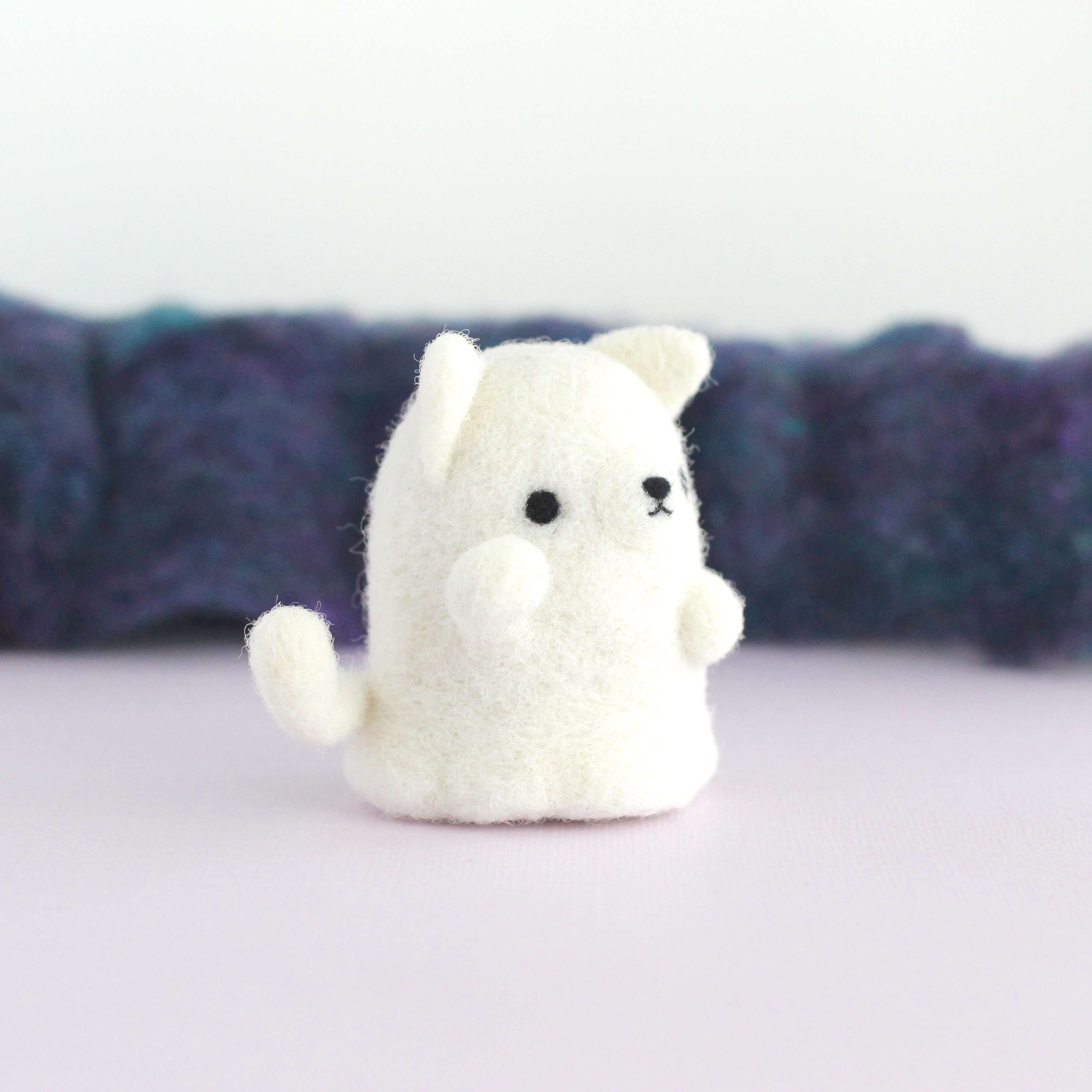 Needle Felted Ghostie Lucky Cat by Wild Whimsy Woolies