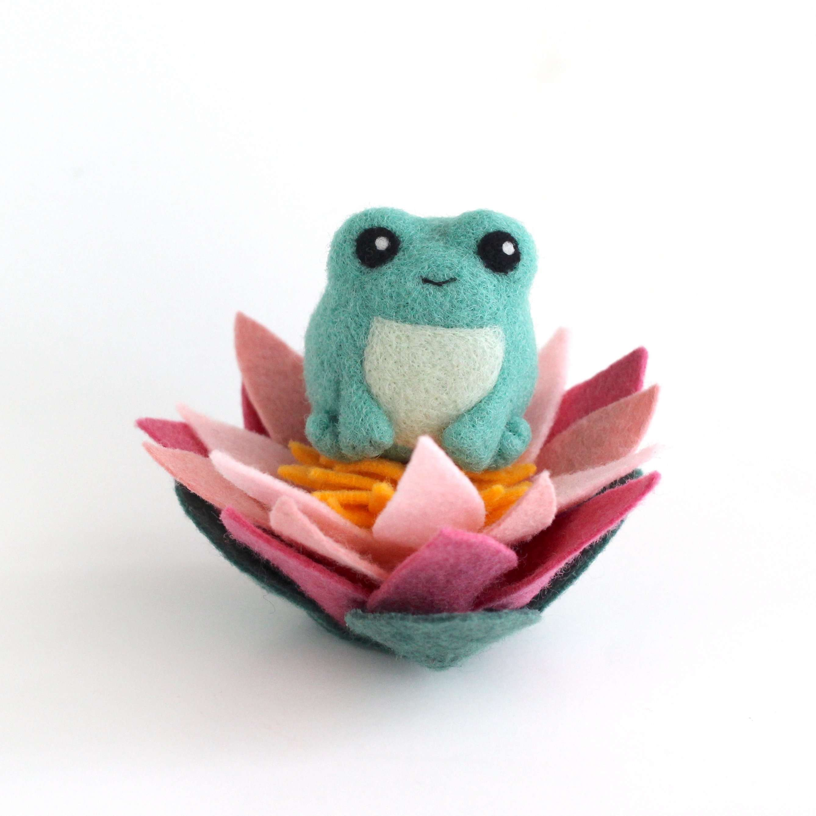 Needle Felted Green Frog with Lotus Flower by Wild Whimsy Woolies