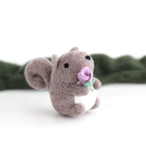 Needle Felted Grey Squirrel holding a Flower by Wild Whimsy Woolies
