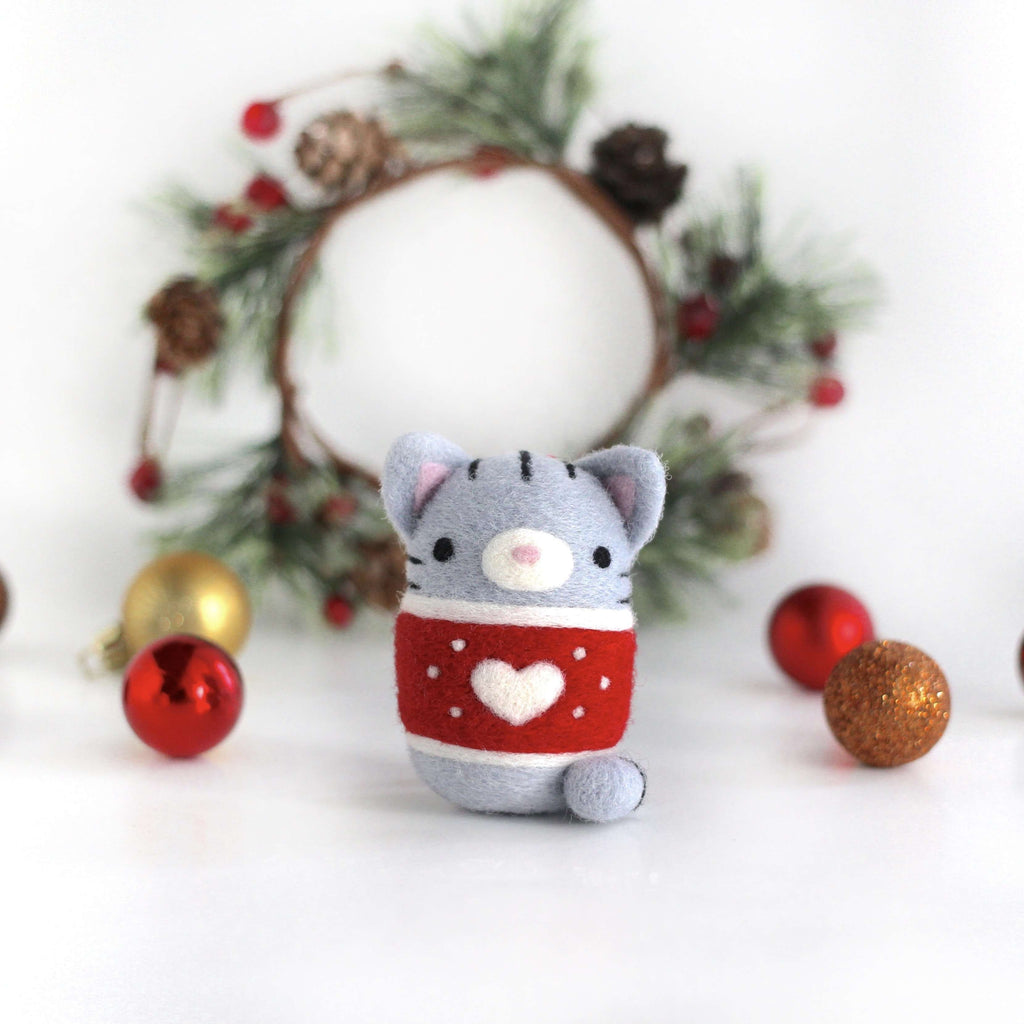 Needle Felted Grey Tabby Cat in Christmas Sweater by Wild Whimsy Woolies