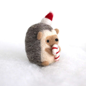 Needle Felted Hedgehog holding Candy Cane by Wild Whimsy Woolies